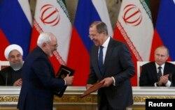 رؤسای جمهور و وزیران خارجه روسیه و ایران در نشستی در مسکو در مارس ۲۰۱۷