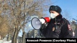 Полицейский на протесте, Хабаровск, декабрь 2020 года