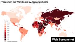 Уровень свободы в мире, где 100 – наиболее свободные страны, 0 – наименее свободные (скриншот Freedom House)