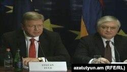 Comisarul european pentru extindere și politica de vecinătate Štefan Füle și ministrul armean de externe Edward Nalbandian la conferința de presă de la Erevan, 13.09.2013