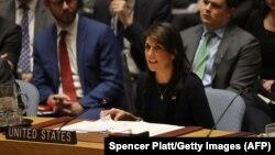 ՄԱԿ-ում ԱՄՆ դեսպան Նիքի Հեյլին Անվտանգության խորհրդի նիստի ժամանակ, Նյու Յորք, 14-ը մարտի, 2018թ․