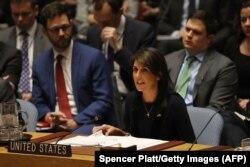 Никки Хейли на заседании СБ ООН, где обсуждается химическая атака в Солсбери 14 марта 2018 года