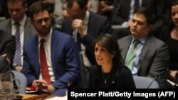 Никки Хейли (в центре) в зале Совета Безопасности ООН