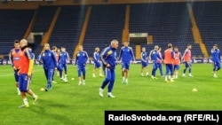 The Ukrainian football team warms up before a match with Poland on October 10.
