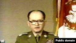 General Wojciech Jaruzelski declares martial law in December 1981.
