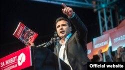 Лидерот на СДСМ Зоран Заев зборува на предизборен митинг во Прилеп.