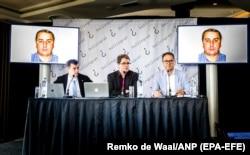 Пресс-конференция Bellingcat и The Insider в Гааге, 25 мая. Элиот Хиггинс – в центре