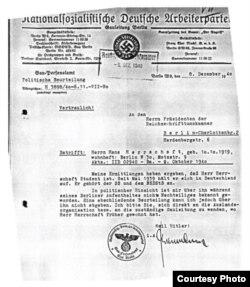 Adeverinţă din 8.12. 1940 – [Bundesarchiv Berlin, RK (BDC) 10235].
