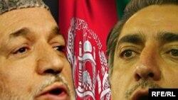 حامد کرزی (چپ)، پیروز انتخابات، و عبدالله عبدالله