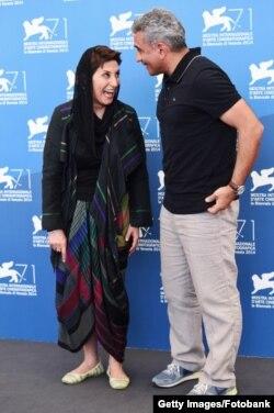 """""""Nabat"""" filminin rejissoru Elçin Musaoğlu və iranlı aktrisası Fatemeh Motamed Arya 71-ci Venesiya film festivalında."""