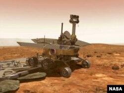 """АКШнын Космостук агенттиги-НАСА учурган """"Mars Exploration Rover"""" роботу Марс планетасынын бетинде. 25-январь 2004-жыл."""