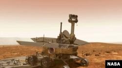 Mars Exploration Rover на поверхности Марса. Графическая имитация