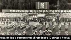 """Spectacol pe stadionul """"Dinamo"""" din Capitală, dedicat """"Zilei pionierilor"""". (18 iunie 1977) Sursă: Fototeca online a comunismului românesc; cota:118/1977"""
