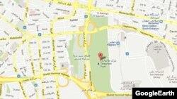 نمایی از پارک طالقانی میان دو بزرگراه پررفتوآمد و در مجاورت فرماندهی نیروی انتظامی پایتخت