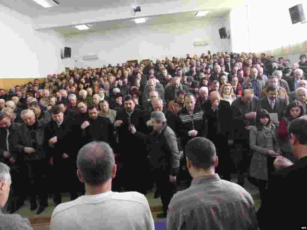 Representatives of Kosovo's Serbian minority in Mitrovica discuss future steps ahead of the declaration on February 15. Across the province, Serbs have held prayers and protests against the secession, which Serbia has called illegal.