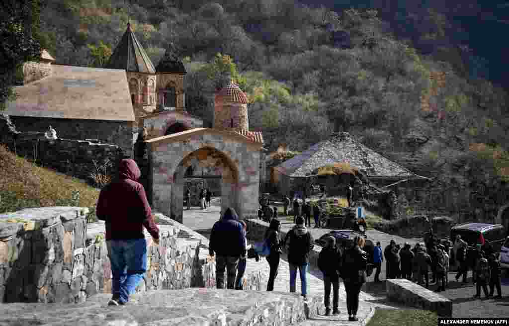 Crowds gather at the monastery on November 12. The territory where the monastery is located is due to be handed over to Azerbaijan by November 15.