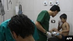 Сирияның Алеппо қаласындағы дала госпиталінде. 6 қыркүйек 2016 жыл.