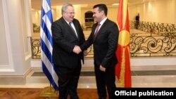 Скопје - премиерот Зоран Заев се сретна со грчкиот министер за надворешни работи Никос Коѕијас, 23.03.2018