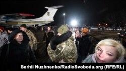 Під час зустрічі звільнених в результаті обміну. Аеропорт «Бориспіль», 29 грудня 2019 року