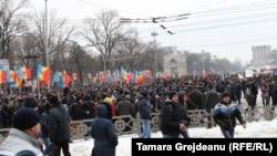 Під час протесту в Кишиневі, 22 січня 2016 року
