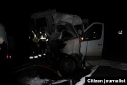 Автоҳалокатга учраган микроавтобус