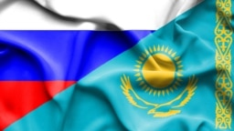 World -- Kazakhstan and Russia flags
