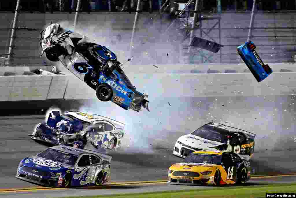 NASCAR driver Ryan Newman (6) crashes near the end of the Daytona 500 at Daytona International Speedway in Florida on February 17. Newman was taken from the track in serious condition but was released from the hospital on February 19. (USA Today/Peter Casey)