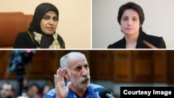 Iran -- Iranian Gonabadi Dervish, Mohammad Salas (below) Nasrin Sotoudeh Iranian lawyer (R) and Zeynab Taheri, Iranian lawyer (L)