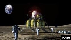 «Аполлон-16» космос кораблиндеги Джон Янг Чарльз Дюк жана Томас Маттинглиден турган америкалык астронавттар 1972-жылдын 21-апрелинде Айдагы Декарт кратерине конгон.