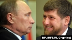 Some fear that Russian President Vladimir Putin (left) may have become too reliant on Chechen strongman Ramzan Kadyrov (right) to maintain order in the restive Caucasus republic.