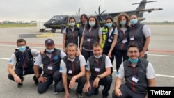 Italy -- Italian medics pose for a photograph before their departure to coronavirus-hit Armenia, June 26, 2020. (Photo by the Italian Civil Protection Department)