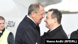 Ministri i Jashtëm i Rusisë, Sergei Lavrov, dhe ministri i Jashtëm i Serbisë, Ivica Daçiq. Beograd, 12 dhjetor 2016.