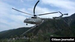 Вертолет в ущелье Алма-Арасан близ Алматы. Иллюстративное фото.
