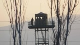 A border guard tower on the Tajik side of the Panj River, in southern Tajikistan's Farkhor district.