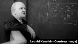 Михаил Панов на лекции в МГУ. Снимок сделан его коллегой Леонидом Касаткиным