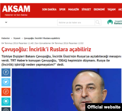 "Pro-Erdogan Aksam daily quotes Cavusoglu: ""Why not open Incirlik to Russia?"""