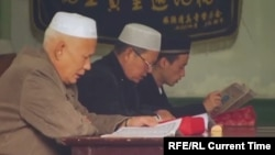 Ethnic Kazakhs pray in a mosque in China's Xinjiang Uyghur Autonomous Region.