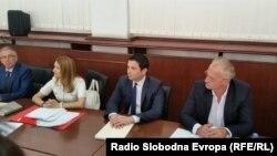Поранешниот министер за транспорт и врски Миле Јанакиески во Апелациониот суд во Скопје.