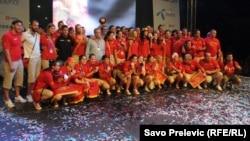 Ракометарките на Црна Гора при освојување на сребрениот медал на Олимписките игри во август 2012