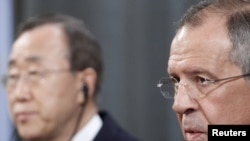 Бан Ки Мун и Сергеј Лавров на прес конференција во Москва