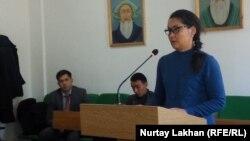 Заявившая о бегстве из Китая этническая казашка Кайша Акан в суде. Жаркент, 12 ноября 2019 года.