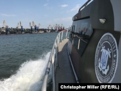 A view of Mariupol on the Sea of Azov from aboard a Ukrainian Sea Guard patrol boat,
