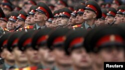 Russian servicemen take part in the Victory Parade on Moscow's Red Square on May 9.