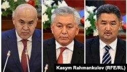 Коалиция құрған фракциялардың басшылары Алтынбек Сулайманов, Иса Өмүрқұлов, Алмазбек Баатырбеков.