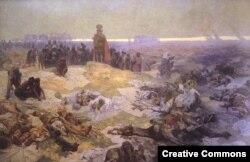 """""""После битвы при Грюнвальде"""". Часть """"Славянской эпопеи"""" чешского художника Альфонса Мухи (1924). Грюнвальдская битва часто использовалась славянофилами как символ успеха славян в противостоянии агрессивному Западу"""