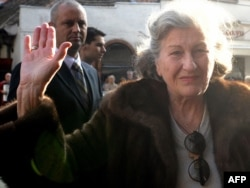 Former Bosnian Serb President Biljana Plavsic arrives back in Belgrade in October 2009.