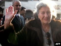 Former Bosnian Serb President Biljana Plavsic arrives back in Belgrade in October 2009.