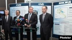 Armenia - Vladimir Yakunin (second from right), chairman of Russia's state-run rail network, speaks to journalists in Yerevan, 15Feb2012.