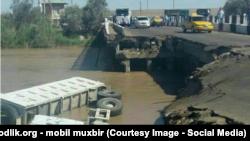 Обрушавшаяся часть моста Карши-Бухара.