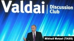 Президент России Владимир Путин на форуме «Валдай» в Сочи, 19 октября 2017 года.